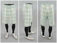 """Sligo Green & White Plaid Mens Golf Shorts, Knee Length Casual Preppy Style 36"""""""