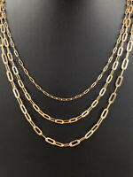 "Solid 14k Yellow Gold Paperclip Rolo Chain 2.5mm 4mm 5mm Necklace 16""-24"" ITALY"