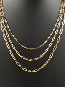 """Solid 14k Yellow Gold Paperclip Rolo Chain 2.5mm 4mm 5mm Necklace 16""""-24"""" ITALY"""