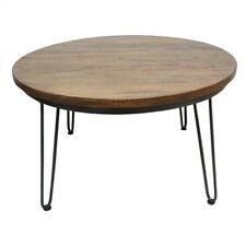 MAYO ROUND COFFEE TABLE - TIMBER & METAL - CHARCOAL/NATURAL