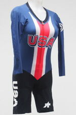 Assos Women's Long Sleeve Cycling Skinsuit Size Small Red/White/Blue USA Custom