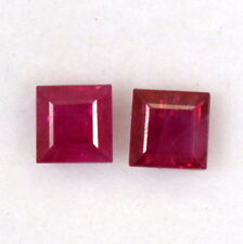 Certified Natural Ruby Square Pair 3.50 mm 0.84 Cts Lustrous Red Loose Gemstones