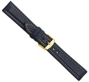 Bio Leder Ersatzband Uhrenarmband Kalbsleder Dunkelblau 20536G