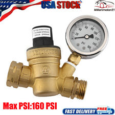 Rv Adjustable Water Pressure Regulator With Gauge For Camper Brass Lead Free Us