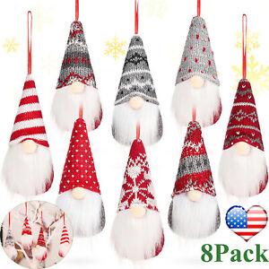 8Pcs Hanging Christmas Gnomes Tomte Faceless Plush Doll Xmas Tree Decor Gift USA