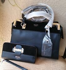 NWT Guess Tepper Satchel Handbag & Wallet Set Black 100% Authentic