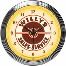 """Jeep Willys Neon clock sign 8JEEPW 15"""" Wall Clock NEW MAN CAVE LOOK Neonetics"""