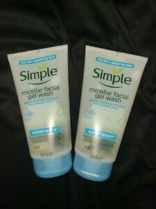 (2)Simple Water Boost Micellar Facial Gel Wash Sensitive Skin (5 Oz)