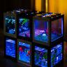 Aquarium Mini LED Fish Tank Goldfish Betta Building Blocks cute tank kids office