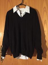 Black Oversized Sweater V Neck Wool One Size