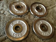 """4x 1.5KG 3.3lbs(1"""" Standard Stainless Steel CHROME) Weight Plates Plate Barbell"""