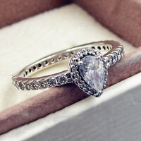 Authentic 925 Sterling Silver Teardrop Silhouette Clear CZ Ring Size 6 7 8 9
