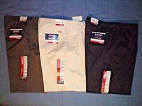 NWT NEW mens olive stone navy blue khaki IZOD pleated wrinkle free chino pants