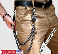 Punk Style Pants Trousers Wallet Chain Rock Hip Hop Waist bullet , black silver