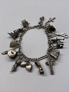 Vintage Antique Mexico Sterling FULLY LOADED Dangle Charm Bracelet
