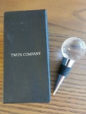 Bottle Stopper W/ Glass Globe Of World Etched in White. NWOT by Two's Company