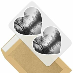 2 x Heart Stickers 7.5 cm - BW - Central Park Lake New York NYC  #35991