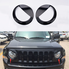 HLC ABS Black Head Light Lamp Cover Trim Bird Type For Jeep Patriot 2011-2016