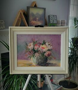 """Original Floral OIL Painting Peonies Flowers Still Life Vase 12x16"""" Canvas Signd"""