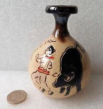 "Spanish vase Pamplona bull run incense holder funny souvenir pottery ornament 4"""