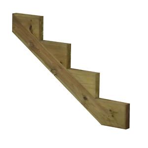 Treppenwange Treppenwangen 4 Stufen für Holz Treppe druckimprägniert Außen