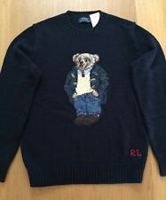 $265 NWT POLO RALPH LAUREN PREPPY TEDDY BEAR SWEATER NAVY LINEN/COTTON-LARGE