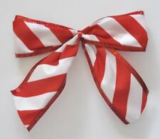 "5"" Red & White Sparkle Christmas Holiday Hair Clip Bow Festive Clip-On"
