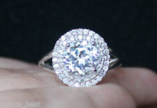 NEW Zales White Sapphire Diamond Halo Anniversary Engagement Ring S7  Silver