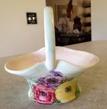 Vintage Signed E RADFORD England Pottery Art Deco Basket Hand Painted Flowers