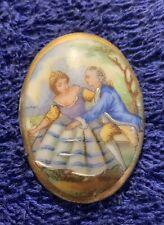 Ancien Miniature Peinture Scène Romantique - Ovale  Porcelaine limoges
