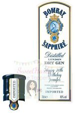 Personalised Bombay Sapphire Gin Bottle Labels Edible Icing Cake Topper Set