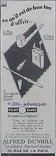 PUBLICITE ALFRED DUNHILL BRIQUET PIPE FUME CIGARETTE TORPEDO DE 1926 AD PUB RARE