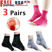 3 Pairs Compression Foot Sleeve Ankle Brace Support Plantar Relief Pain Socks