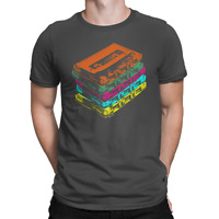 Mens Retro Cassette T-Shirt 80s Mix Tapes Rock Hip Hop Disco Dance C90 Music Tee