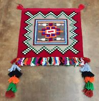 Unique Tasseled Saddle Blanket, Native American (Navajo) Textile