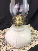 ORIG. Antique Vtg Victorian Oil Lamp GWTW Embossed Milk Glass Hurricane Lantern