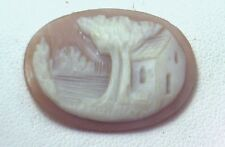 NOS Antique Vintage Hand Carved Oval Shell CAMEO Stone House & Tree Scene #N413