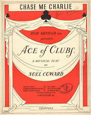 CHASE ME CHARLIE Music Sheet-1950-ACE OF CLUBS-NOEL COWARD-AUTOGRAPH GRIMALDI-UK