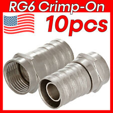 10 Pack F-Type Crimp On Connectors Plug Male RG6 Coaxial Cable F Connector