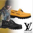 LOUIS VUITTON Summerland Boat Shoes Men Suede Navy Blue  Loafers Size 42