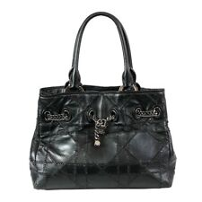 2e43cba7d96a  4000 Authentic Christian Dior Blk Lamb Cannage Quilted Chain Lock Handbag  Tote
