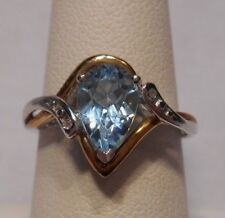Alwand Vahan~Aquamarine & Diamond 10K Gold & 925 Sterling Silver Ring Size 7