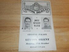 CRYSTAL PALACE  v  LEYTON ORIENT  1955/6  EDWARDS + BAILEY JOINT BENEFIT ~ OCT17