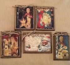5 WOOD PriM Country Christmas Ornaments,HangTags,Winter Ornies HANDCRAFTED Set.2