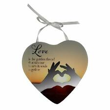 Greatest Gift is love - Heart Shaped Mirrored Hanging Plaque Love Gift 61409