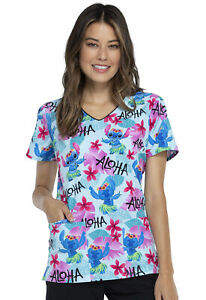 Lilo And Stitch Cherokee Scrubs Tooniforms Disney V Neck Top TF614 LHAS