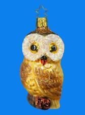 INGE GLAS FOREST OWL EULE GERMAN BLOWN GLASS CHRISTMAS TREE ORNAMENT DRK WNG 61