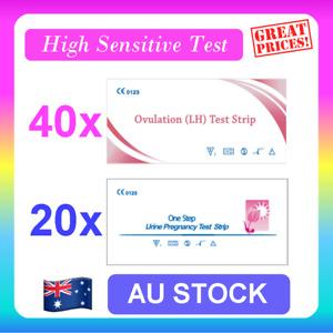 40 x Ovulation LH Test + 20 x Pregnancy Test HCG Strips Urine Fertility OPK Kit