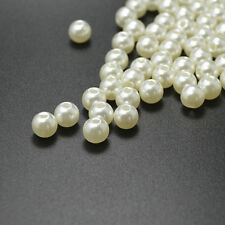 Wholesale 100 PCS 8mm Round Acrylic Pearl Spacer Loose Beads White Color C0454