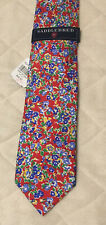 NWT SADDLEBRED MEN'S TIE 100% Silk Red Blue Green Yellow Floral Flowers $42